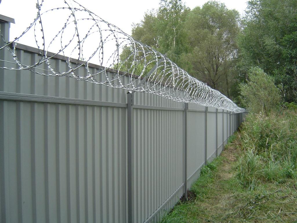 Забор из профнастила с козырьком из